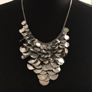 Chainmail silver statement necklace